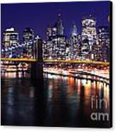 Midnight In The Shadow Of Brooklyn Bridge - Brooklyn Bridge Canvas Print