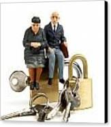 Miniature Figurines Of Elderly Couple Sitting On Padlocks Canvas Print by Bernard Jaubert
