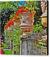 Mirabell Gardens In Salzburg Hdr Canvas Print by Mary Machare