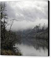 Misty River Drive Along The Umpqua Canvas Print