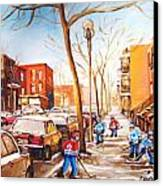 Montreal Street With Six Boys Playing Hockey Canvas Print