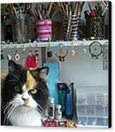 Moo Shu Cat On My Desk Canvas Print by Kristi L Randall