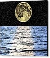 Moon Over The Sea, Composite Image Canvas Print by Victor De Schwanberg