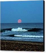Moonrise Rexham Beach Canvas Print by Malcolm Lorente