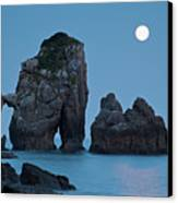 Moonset In Gaztelugache Canvas Print