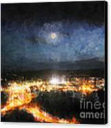 Moonshine Over Prescott Canvas Print by Arne Hansen