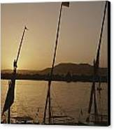 Moored Feluccas On The Nile River Canvas Print by Kenneth Garrett