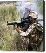 Mortarman Fires An At4 Anti-tank Weapon Canvas Print by Stocktrek Images