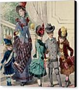 Mother And Children In Indoor Costume Canvas Print by Jules David