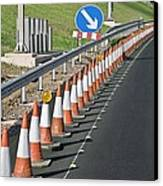 Motorway Traffic Cones Canvas Print by Linda Wright
