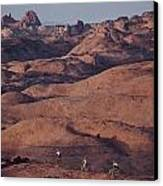Mountain Bike Riders On Slickrock Trail Canvas Print by Joel Sartore