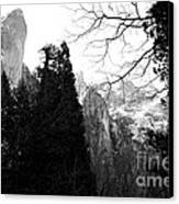 Mountains Of Yosemite . 7d6213 . Black And White Canvas Print