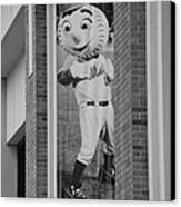 Mr Met In Black And White Canvas Print by Rob Hans