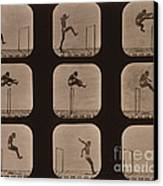 Muybridge Locomotion Of Man Jumping Canvas Print by Photo Researchers