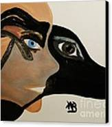 My Beloved Greyhound And Me Canvas Print by Marie Bulger