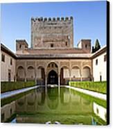 Nasrid Palace From Fish Pond Canvas Print