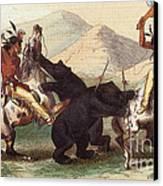 Native American Indian Bear Hunt, 19th Canvas Print
