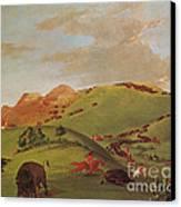 Native American Indians, Buffalo Chase Canvas Print