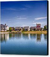 New Town On The Lake Canvas Print by Bill Tiepelman