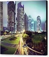 Night Fog Over Shanghai Cityscape Canvas Print by Blackstation