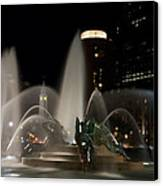 Night View Of Swann Fountain Canvas Print by Bill Cannon