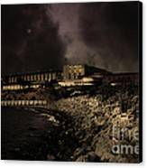 Nightfall Over Hard Time - San Quentin California State Prison - 5d18454 - Partial Sepia Canvas Print by Wingsdomain Art and Photography