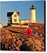 Nubble Light Sunset Canvas Print by Catherine Reusch Daley