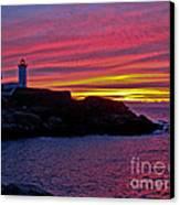 Nubble Lighthouse Canvas Print by Scott Moore