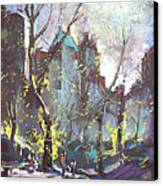 Nyc Central Park Controluce Canvas Print by Ylli Haruni