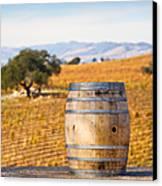 Oak Barrel At Vineyard Canvas Print
