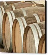 Oak Wine Barrels In Castillion La Bataille, France Canvas Print by Steven Morris Photography