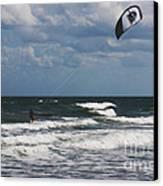 October Beach Kite Surfer Canvas Print by Susanne Van Hulst