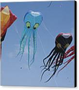 Octopus And Squid-shaped Kites Fly Canvas Print by Stephen Sharnoff