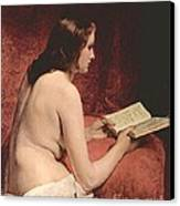 Odalisque With Book Canvas Print by Pg Reproductions