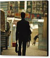 Office Worker With A Briefcase Walks Canvas Print by Justin Guariglia