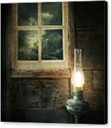Oil Lamp On Table By Window Canvas Print