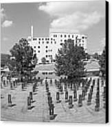Oklahoma City National Memorial Black And White Canvas Print by Ricky Barnard