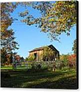 Old Barn During Fall Canvas Print by Leontine Vandermeer