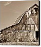 Old Barn In Sepia Canvas Print by Douglas Barnett