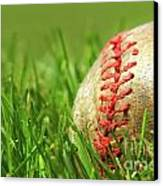 Old Baseball Glove On The Grass Canvas Print