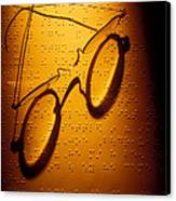 Old Glasses On Braille  Canvas Print