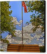 Old Glory Bench Canvas Print by Bill Tiepelman