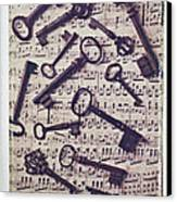 Old Keys On Sheet Music Canvas Print