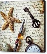 Old Letter With Pen And Starfish Canvas Print