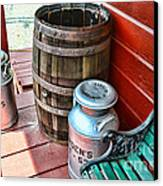 Old Milk Cans And Rain Barrel. Canvas Print by Paul Ward