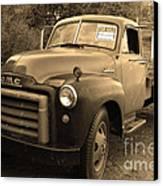 Old Nostalgic American Gmc Flatbed Truck . 7d9821 . Sepia Canvas Print