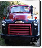 Old Nostalgic American Gmc Flatbed Truck . 7d9823 Canvas Print by Wingsdomain Art and Photography