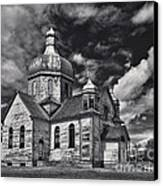 Old Prairie Church And Storm Front Canvas Print