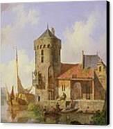 On The Rhine Canvas Print by Cornelius Springer