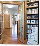 Open French Doors And Home Library Canvas Print by Andersen Ross